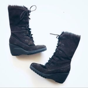 Steve Madden Wedge Tie Up Boots